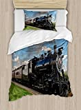 Ambesonne Steam Engine Duvet Cover Set Twin Size, Vintage Locomotive in Countryside Scenery Green Grass Puff Train Picture, Decorative 2 Piece Bedding Set with 1 Pillow Sham, Blue Green Black