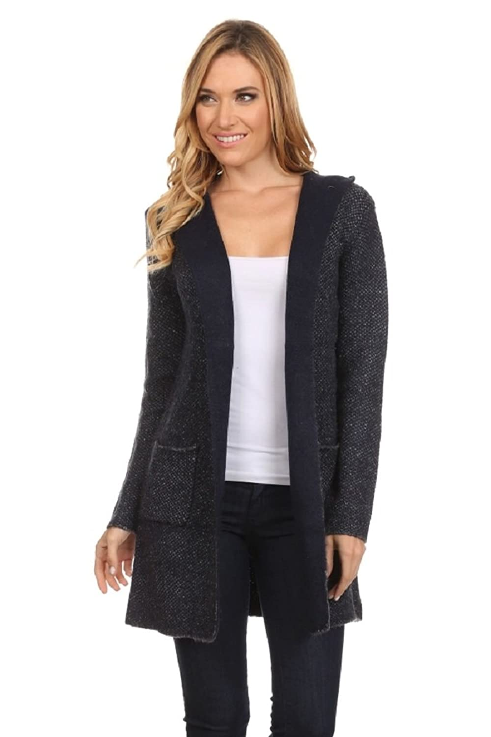 High Secret Women's Thick Knit Reversible Hooded Open Front Cardigan