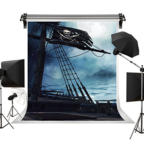 (Kate Halloween Backdrop Full Moon Pirate Ship Backgrounds Skull Pirate Flag Photo Backdrop for Celebration Photography Studio)