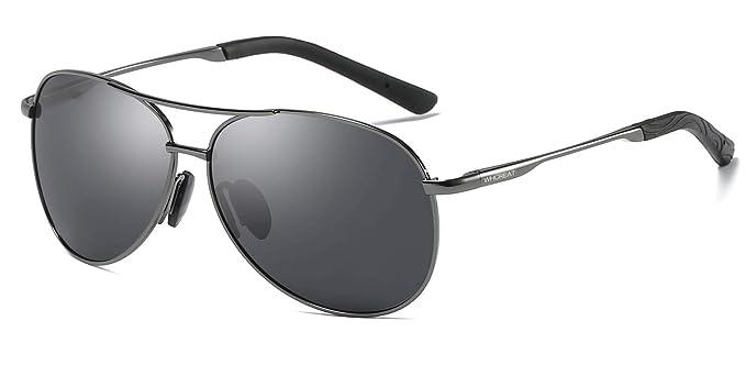 WHCREAT Clásico Unisex Gafas De Sol Polarizadas con Ultra-Light Ajustable Marco de Metal HD