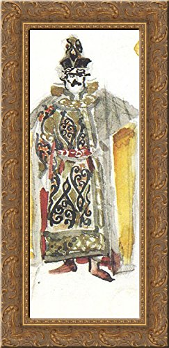 Fist-fighter (Costume design for the opera The Enchantress) 24x12 Gold Ornate Wood Framed Canvas Art by Mikhail Vrubel