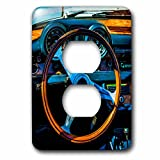 3dRose Alexis Photography - Transport Road - Steering wheel and a dashboard of a vintage luxury car - Light Switch Covers - 2 plug outlet cover (lsp_271911_6)