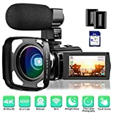 4K Camcorder Video Camera Rosdeca Ultra HD 48.0MP WiFi Digital Camera IR Night Vision 3.0' IPS Touch Screen 16X Digital Zoom with External Microphone, Wide Angle Lens, Lens Hood and 2 Batteries