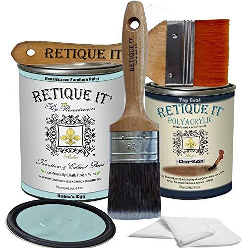 Retique It Chalk Furniture Paint by Renaissance DIY, Poly Kit, 34 Robin's Egg, 32 Ounces