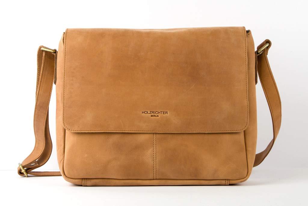 008f9e2e0b090 HOLZRICHTER Berlin - Premium Umhängetasche (S) aus Leder - Handgefertigte  Laptop Messenger Bag im Vintage Design - Ledertasche für Herren und Damen  ...