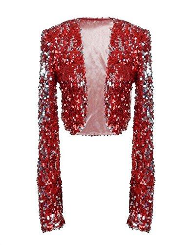 Cropped Jacket Wear (kayamiya Women Sequin Jacket Long Sleeve Sparkly Cropped Shrug Clubwear XL/US 12-14 Burgundy)