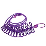BINGONE Windproof Clothesline Portable Travel Home Style Outdoor with 12 pcs Clip Purple