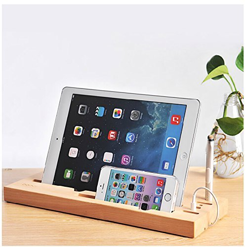 Best-mall Creative 100% Wood Multifunction Desktop Panel Charging Station and Cord Organizer for IPAD 4/Ipad 3/Ipad Mini/IPhone/Samsung/Android Smart phones- With A Free Alloy Aluminum stylus Gift To You (Hard - Maple Mall Wood