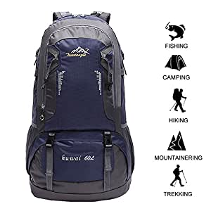 60 L Waterproof Ultra Lightweight Packable Climbing Fishing Backpack Hiking DaypackInternal Frame BackpackHandy Foldable Camping Outdoor Backpack Bag with a Rain Cover (Dark Blue 60L)