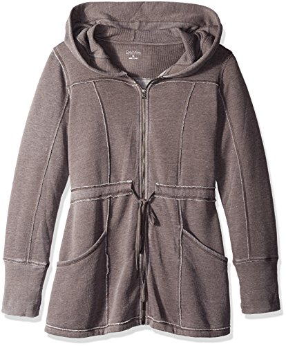 Calvin Klein Performance Women's Distressed Fleece Hooded Walker Coat, Tobac, Medium