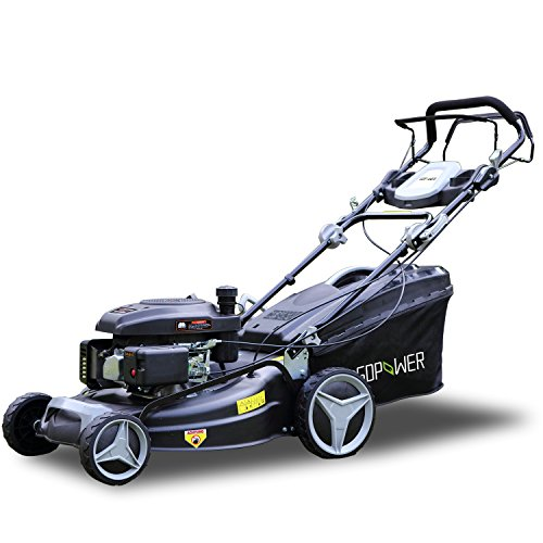 I-Choice 161cc 21 Inch 3-in-1 Gasoline Self-Propelled Lawnmower High Rear Wheel Drive Push Mower with OHV Engine, Deck, Recoil Start System, Side Discharge, Mulching, Rear (1 High Wheel)