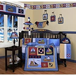 GEENNY Boutique Nautical 13 Piece Crib Bedding Set, Boy Sailor Sailboat