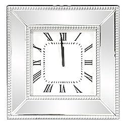 Howard Elliott 99172 Mirrored Wall Clock with Beaded Glass Trim