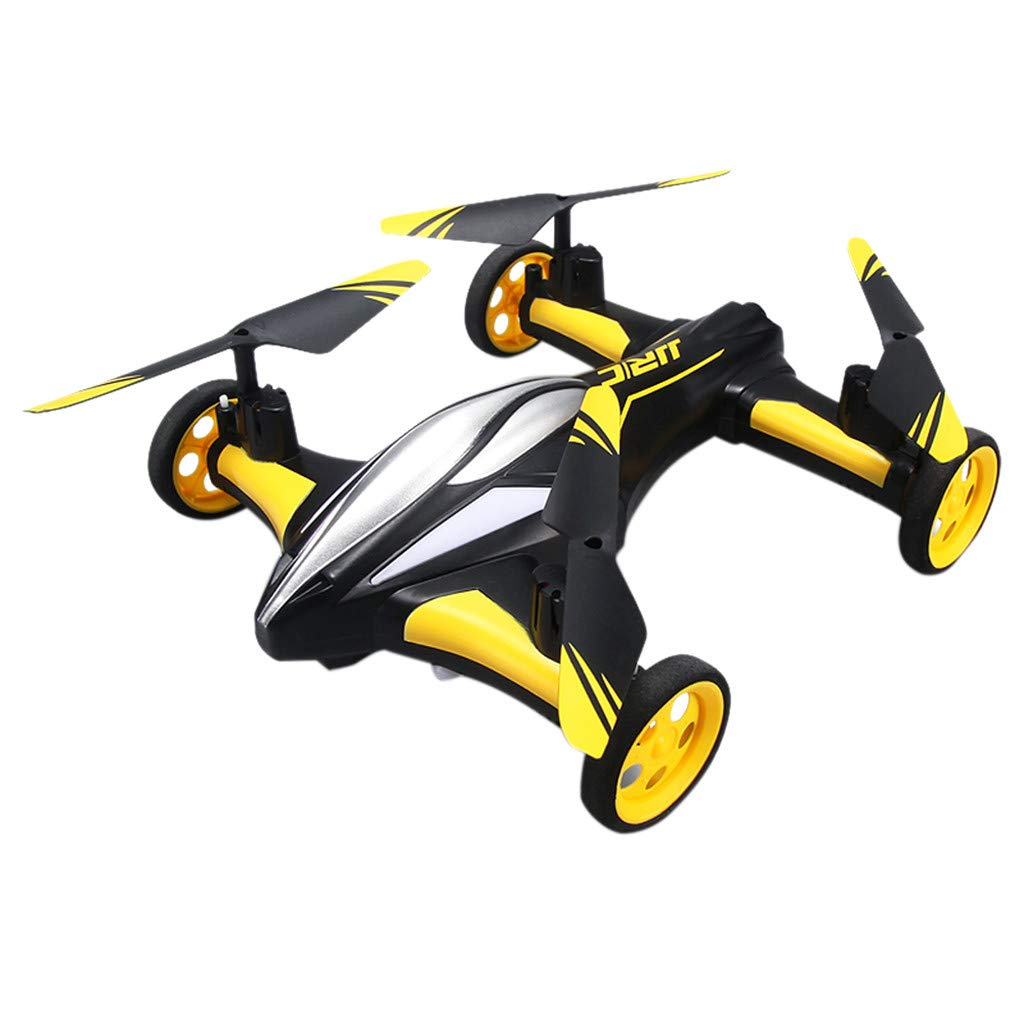 MOZATE Flying Cars Quadcopter Car Remote Control Car and RC Quadcopter Remote Control Drone Flying Vehicles (Yellow)