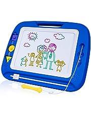 SGILE Pizarra Magnética Niños, 32.5 x 41.5 cm Pizarra Magica con 4 Vivos Colores y 3 Sellos, Juguetes No Tóxico para Niños, Azul