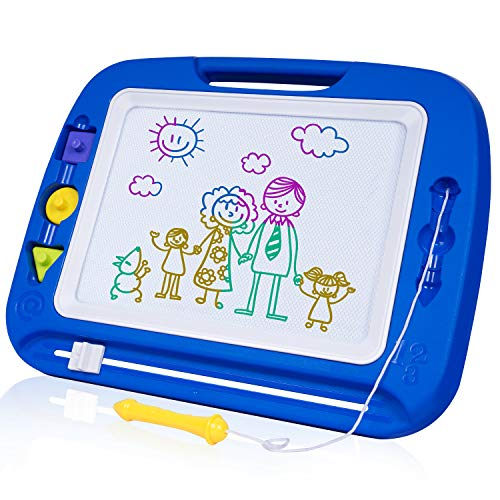 SGILE Magnetic Drawing Board, 13X16 Non-Toxic Big Magnetic Erasable Magna Doodles Toy, Assorted Colors Writing Painting Sketching Pad for Toddler Boy Girl Kids Skill Development, Blue( Extra ()