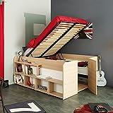 Funktionsbett Aaliyah 140*200 cm beige buche inkl Hydraulik + 2 Roll-Bettkästen + Kleiderschrank Kinderbett Jugendbett Bett Jugendzimmer Kind