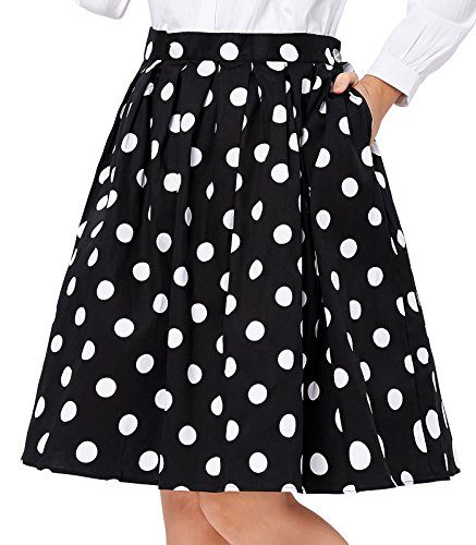 Polka Dot 50s Vintage Skirts for Women Short Size XL ()