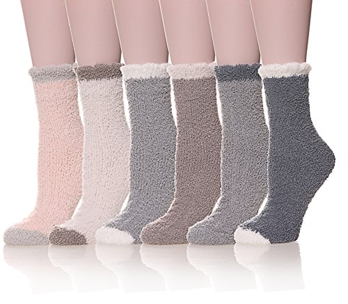 Womens Super Soft Fuzzy Cozy Home Sleeping Socks Microfiber Winter Warm Slipper Socks (6 pairs Solid Color)