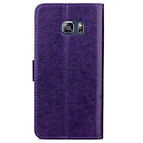 JIALUN-Personality teléfono shell TPU superior de cuero de la PU Flip Funda de la carpeta de la caja Flor grabada Lucky Trébol patrón de la caja para Samsung S6 Edge Plus Seguridad y Moda ( Color : Re Purple