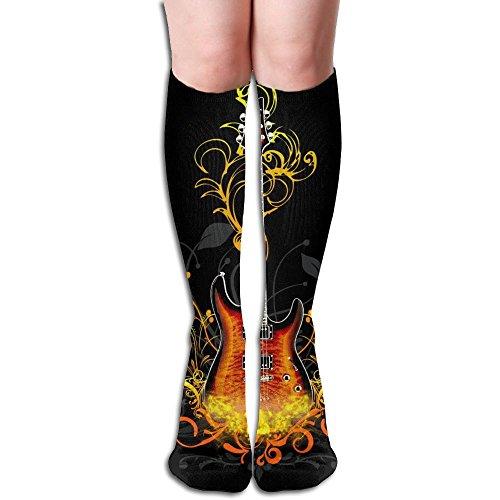 Free Guitar Big Girls/Women Fashion 3D Pattern Knee High Socks Warm Cotton (Free Needlepoint Patterns)