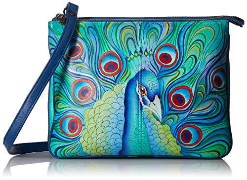 Anuschka Hand Painted Leather Women's Triple Compartment Crossbody, Jeweled Plume