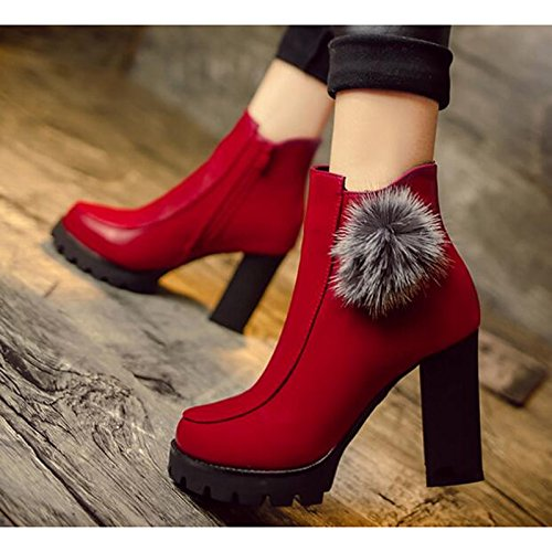 Fall Winter Black Bootie Shoes PU Casual Red Red Boots ZHZNVX Comfort for Women's Booties HSXZ Ankle Heel Boots Chunky gIqTX