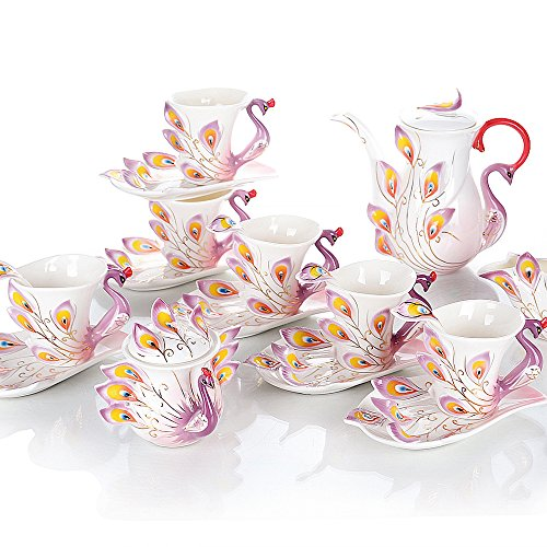 Peacock Coffee Mug Set European Teapot Luxury Coffee Mug/Tea Mug 15-piece Coffee Set Tea Set Tea Service For Wedding Gift Purple ()