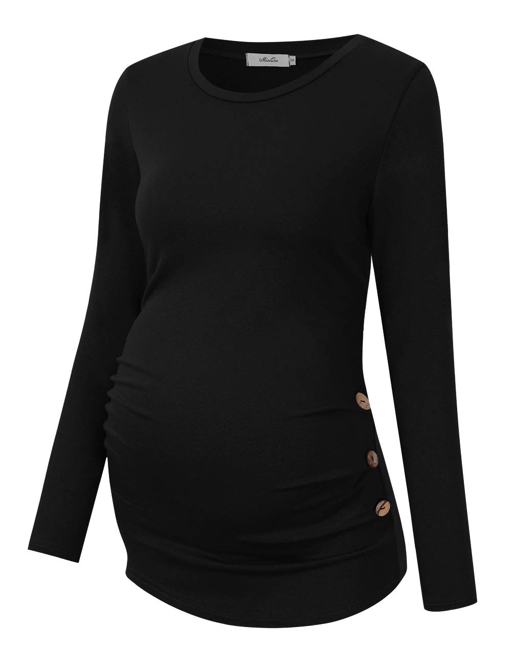 MissQee Maternity Shirt Side Button and Ruched Maternity Tunic Tops Maternity Long Sleeve T-Shirts (M,Navy-Long)