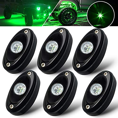 6 Pods LED Rock Light Kit Green LED Neon Lights for Jeep UTV ATV SUV RZR Off Road F150 F250 Ranger Camper Boat underglow Lamp Truck bed lighting Under Body Light Footwell Waterproof