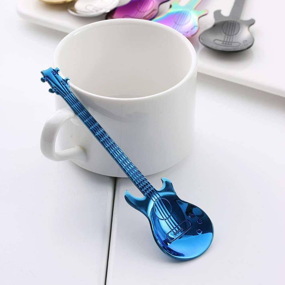 iuNWjvDU 1Pc Guitar Coffee Spoon Stainless Steel Rainbow Coffee Stirring Spoon Cold Drink Tea Set Home Kitchen Supplies Kitchen Accessories