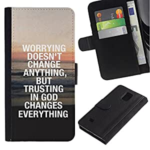 EuroCase - Samsung Galaxy Note 4 SM-N910 - TRUST IN GOD CHANGES EVERYTHING - Cuero PU Delgado caso cubierta Shell Armor Funda Case Cover