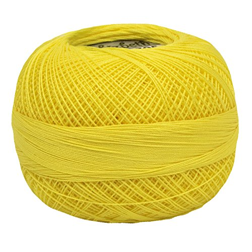 Lizbeth Cotton Thread 184 Yds 10 Grams, Bright Yellow (Yellow Cotton Crochet Thread)
