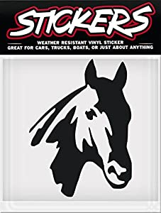 STICKERS Black HORSE HEAD Horse Vinyl Window Sticker Decal Car Truck Trailer Weather Resistant