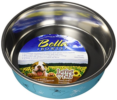Bella Bowl Bowl Dog (Loving Pets Bella Bowl Designer & Expressions Dog Bowl, Medium, Dragonfly, Turquoise)
