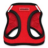 Voyager Step-In Air Dog Harness - All Weather Mesh, Step In Vest Harness for Small and Medium Dogs by Best Pet Supplies - Red Base, Small (Chest: 14.5' - 17')