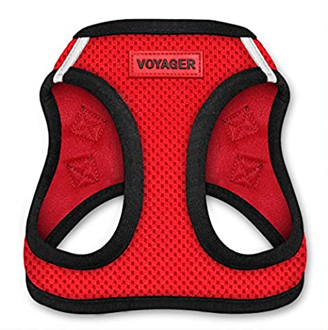 Best Pet Supplies Voyager - All Weather No Pull Step-in Mesh Dog Harness with Padded Vest for Puppy and Cats - Red Base, Medium