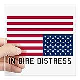 CafePress Upside Down Flag Distress Sticker Square Bumper Sticker Car Decal, 3'x3' (Small) 5'x5' (Large)