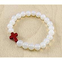 Moonstone Round Beads with Tiny Red Christian Jesus Cross Charm June's Birthstone Stretch Bracelet 7''