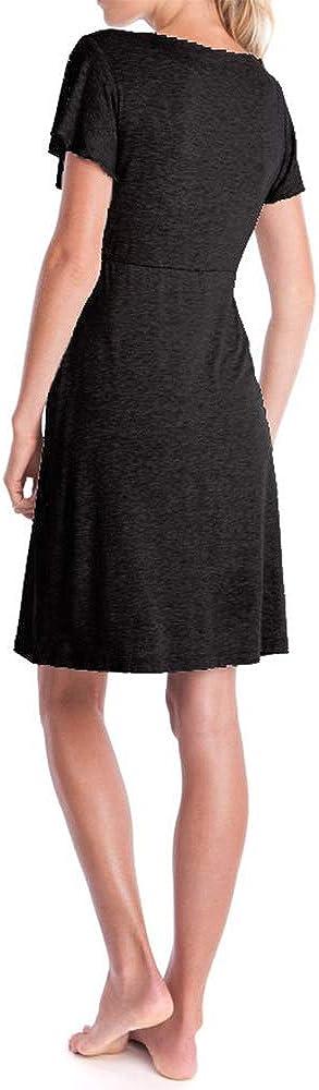fagginakss Damen Umstandskleid Stillpyjama mit Kurze /Ärmel Stillen Kleid Mutterschaft Mode Elegant Spitze N/ähen Lose Nachtw/äsche Umstandskleid Nachthemd