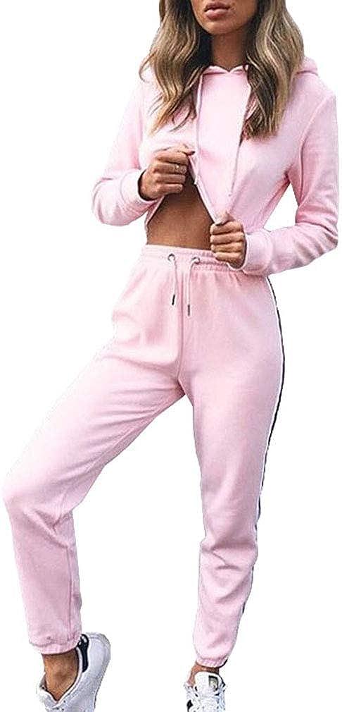 Maisheng Conjunto de chándal para Mujer - Sudadera con Manga Larga a Rayas + Pantalones Joggers Sports Suits 2PCS Chándal Completo - MA19100907