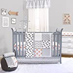 Orange-Fox-on-Grey-Print-Fitted-Crib-Sheet-100-Cotton-Baby-Boy-and-Girl-Forest-Animal-Theme-Nursery-and-Toddler-Bedding