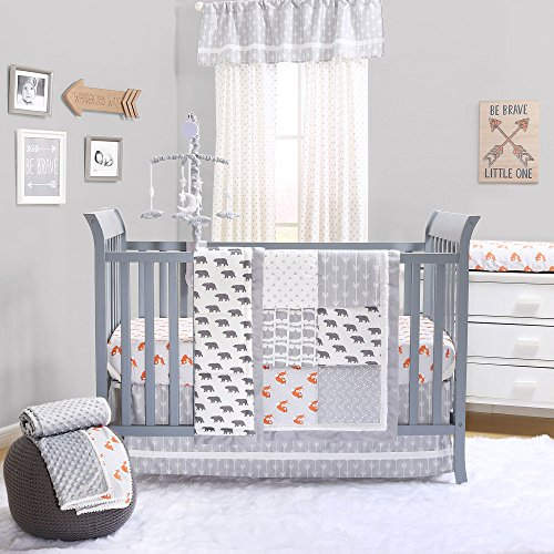Grey and Orange Woodland Friends 3 Piece Crib Bedding Set by The Peanut Shell by The Peanut Shell (Image #8)