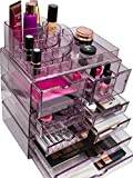 Sorbus Acrylic Cosmetics Makeup and Jewelry Storage Case X-Large Display Sets -Interlocking Scoop Drawers to Create Your Own Specially Designed Makeup Counter -Stackable and Interchangeable (Purple)