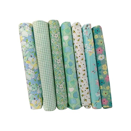 Souarts Green 7 Sheets Fabric Bundles Quilting Sewing Patchwork Clothes DIY Craft 25x25cm