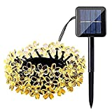 JUNFEI Solar String Light 200 LED 22 Meters Outdoor Waterproof Solar Patio Lights Peach Blossom Decorative Christmas Tree Garden Home Lawn Wedding New Year Party Holiday Decorations (warm light)