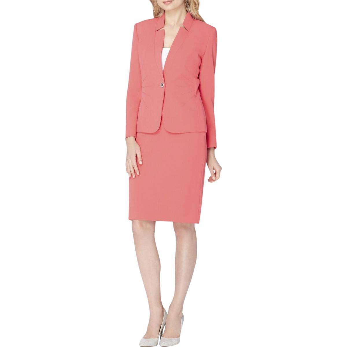 Tahari by Arthur S. Levine Women's Petite Size Crepe One Button Skirt Suit, Tangerine, 10P