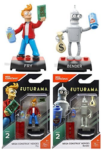Mega Construx Bundle of 2 Heroes Series 2 Futurama Fry and Bender Mini -