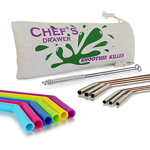 Reusable Straws – 12 Straws, Set Including Silicone Smoothie Straws and Stainless Steel Straws and Cleaning Brush, Wide and Long Reusable Straws with Cotton Storage Pouch Bag