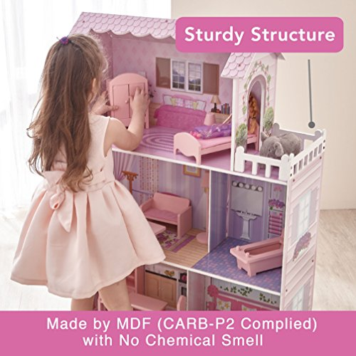 Teamson Kids - Fancy Mansion Wooden Doll House with 13 pcs Furniture for 12 inch Dolls